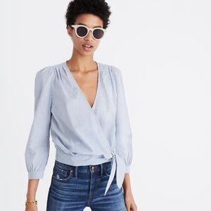Madewell wrap blouse indigo stripe size medium